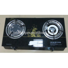 glass top double burner table gas stove, gas cooker