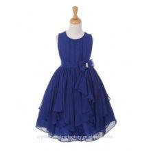 Children Wedding 2-12 Years Old girls Birthday Cap Sleeve Chiffon A Line Flower Girl Dresses Pattern Kids Party Wear LF09