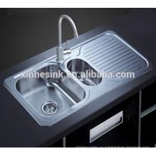 Topmounted из нержавеющей стали с двойной чаша кухонная раковина с крылом Совета(D82)(D83)