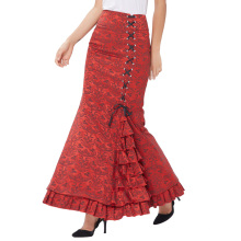 Belle Poque Women Vintage Retro Victorian Style Ruffled Jacquard Fishtail Mermaid Long Red Maxi Skirt BP000204-2