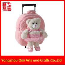 Girls trolley bag soft teddy bear pink color plush cute school trolley bag