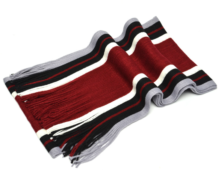 Vertical Stripes Knitting Scarf Red