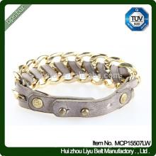 Bracelet en cuir tressé en métal véritable de qualité supérieure en 2015