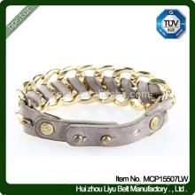 2015 Bracelete de couro trançado real de senhoras de alta qualidade