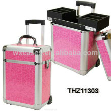 New design professional aluminum cosmetic rolling case with 2 trays inside from China manufacturer