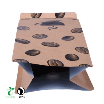 Makanan Ziplock Paper Compostable Box Bottom Bag untuk Kilang Kopi China