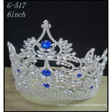 Оптовые свадебные серебряные украшения Тиара дети принцесса цветные конкурсы короны