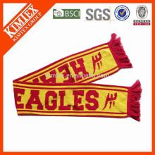 2015 Мода акриловые вязать пользовательские футбольные шарфы