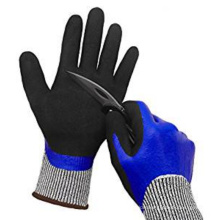 Double Dipped Sandy Nitrile Non-slip Water Cut Resistant Working Gloves