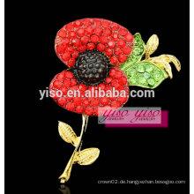 Rote Blume Kristall weibliche Blumenbrosche