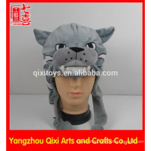 Best selling wildcat head plush hat embroidery plush animal head hat with football