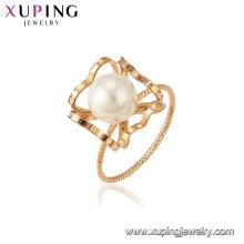 15374 xuping dernière conception d'or romantique blanc perle 18k plaqué or femmes bijoux