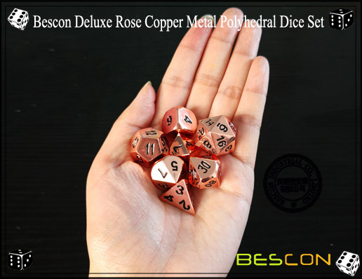 Bescon Deluxe Rose Copper Metal Polyhedral Dice Set-8