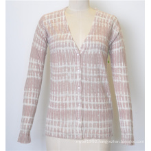 Spring V-Neck Knit Women Cardigan Knitwear with Button