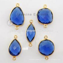 18k Gold Vermeil Plated Natural Blue Sapphire Gemstone Bezel Configuração Sterling Silver Bezel Connectors
