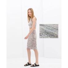 Tecido vestido de senhora de poliéster bordado solúvel em água
