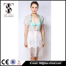 Top selling products 2016 Summer Ladies long Tassels lace rainbow color dress