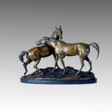 Animal Bronze Garden Sculpture Horse Lovers Carving Brass Statue Tpal-095