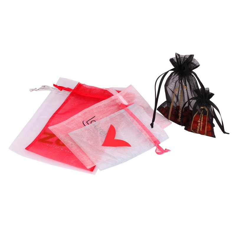 customized size print logo colorized organza bag