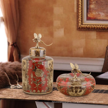 hand painted flower vases with red color classical old dynasty