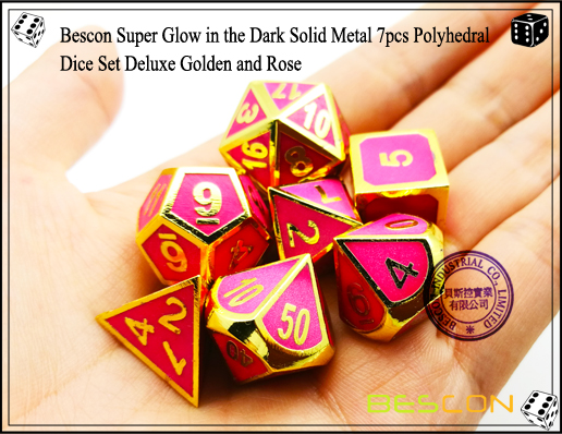 Bescon Super Glow in the Dark Solid Metal 7pcs Polyhedral Dice Set Deluxe Golden and Rose-5