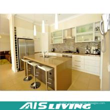 Laca blanca con diseño de gabinetes de cocina de cuarzo artificial (AIS-K363)