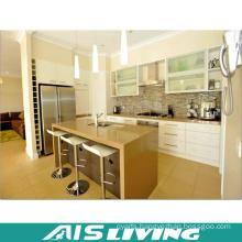White Lacquer with Artificial Quartz Kitchen Cabinets Design (AIS-K363)