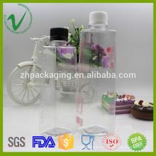 Квадратная форма ПЭТ бутылка для питьевой воды для сока упаковки защитный колпачок