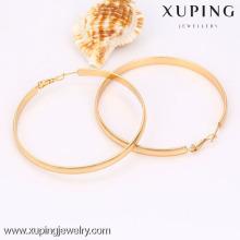 90485-Xuping Bijoux Fashion Hot vente 18K plaqué or grandes boucles d'oreilles rondes
