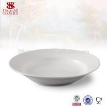 Vaisselle en gros 8 pouces porcelaine blanche soupe plaque porcelaine distributeurs
