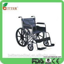 Assento extra e assento ajustável cadeira de rodas manual de aço alto