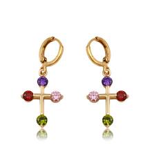 91903 xuping moda de alta qualidade 18k cor de ouro de zircão sintético brincos das mulheres
