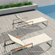 Stainless Steel Sling and Teak Handle Sunlounge