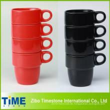 8oz Keramik stapelbar Kaffeebecher Set