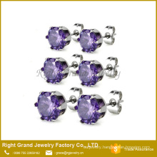 Stainless Steel Purple Round Shaped Cubic Zirconia Ear Studs