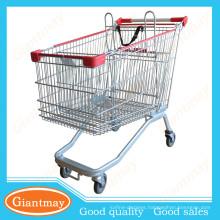 newest customized stylish supermarket shopping cart with swivel rubber wheels
