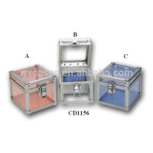 cute 80 CD disks aluminum DVD box with clear acrylic panel as walls