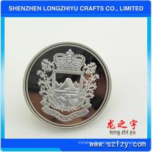 Benutzerdefinierte Shiny Silber und Matt Silber Double Plated Metall Pin Badge Button