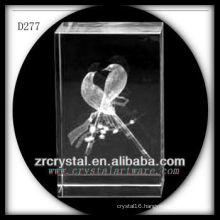 K9 3D Laser Etched Magpie Inside Crystal Block