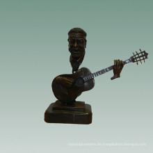 Büsten Messing Statue Gitarre Dekoration Bronze Skulptur Tpy-754
