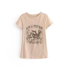 Nueva camiseta estampada de belleza de motocicleta para mujer
