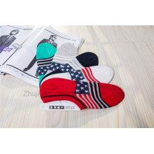 Moda Flag Design Calcetines Low Cut Calcetines Invisible Board Calcetines con Silicion Gel Heel