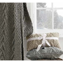 Solid Color Knitted Scarf / Throw for Winter