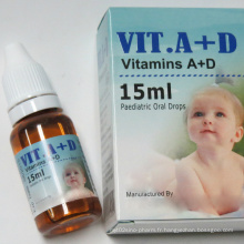 Gouttes d'annonces de vitamines pour les enfants