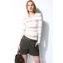 Spring Round Neck Translucent Knit Women Sweater