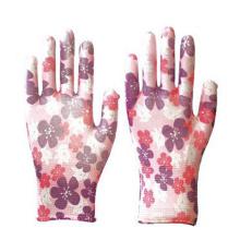 Großhandelsdekoratives Muster- / Farbnitril-glatte Garten-Arbeits-Handschuhe kundengerechte halb überzogene Nitril-Industrie-Handschuhe