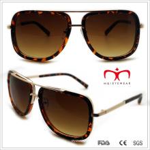Plastik Unisex Quadrat Sonnenbrille mit Metall Dekoration (WSP508323)