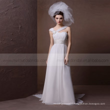 Terse Sweet Heart Wide Straps With Corsage Pleated Beach Wedding Dress