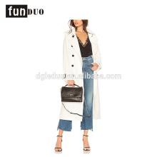 Chaqueta de botón elegante de mujer abrigo largo de moda blanco para mujer