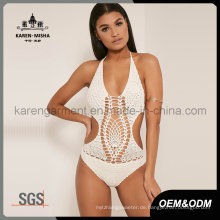 Frauen Halter One Piece Crochet Plus Size Bademode